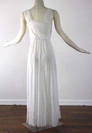 Vintage 60s 1960s Sheer white nylon Cahill Peignoir set M