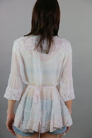 Vintage 90s Boho sheer tiered top pastel pink beach cover blouse