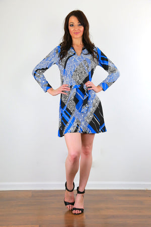 Wrap tie dress vintage 70s boho argyle mini dress black blue belted long sleeve M