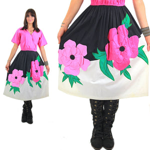 70s Mexican floral applique full skirt dress Jesus A Diaz - shabbybabe  - 5