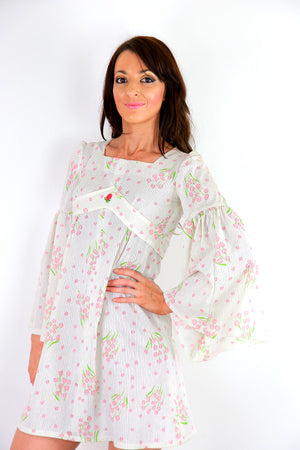 Authentic vintage white boho dress angel sleeve hippie dress