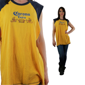 Corona shirt Vintage 90s grunge beer tee graphic sleeveless oversized L