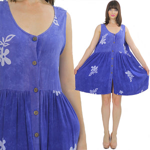 Vintage 90s Grunge Boho Blue Floral mini dress - shabbybabe  - 5