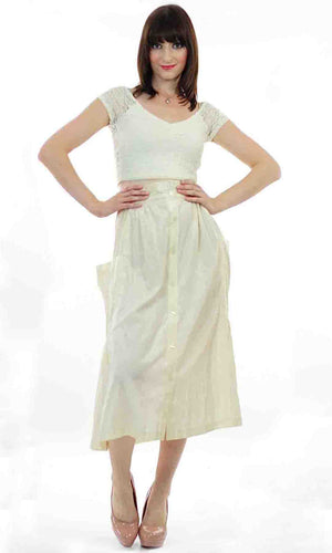Vintage 80s  Boho white pleated party maxi skirt - shabbybabe  - 2
