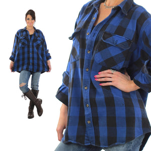 90s Grunge Blue buffalo Plaid flannel shirt Oversized - shabbybabe  - 5