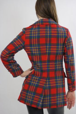 Vintage 70s mod boho red tartan plaid wool jacket blazer top double breasted