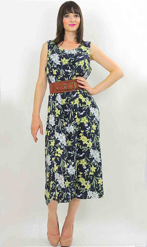 Vintage 90s Grunge Tropical floral maxi dress - shabbybabe  - 2