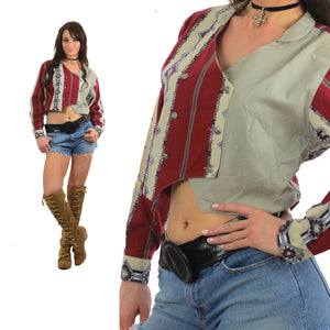 80s Southwestern boho color block cropped jacket - shabbybabe  - 5