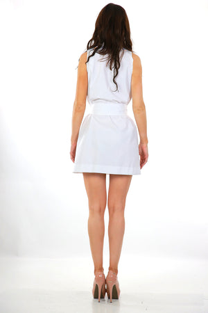 Boho white color block mini wrap dress belted Aline sleeveless mod M Medium