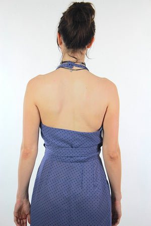 Polkadot dress wrap mini halter blue sundress