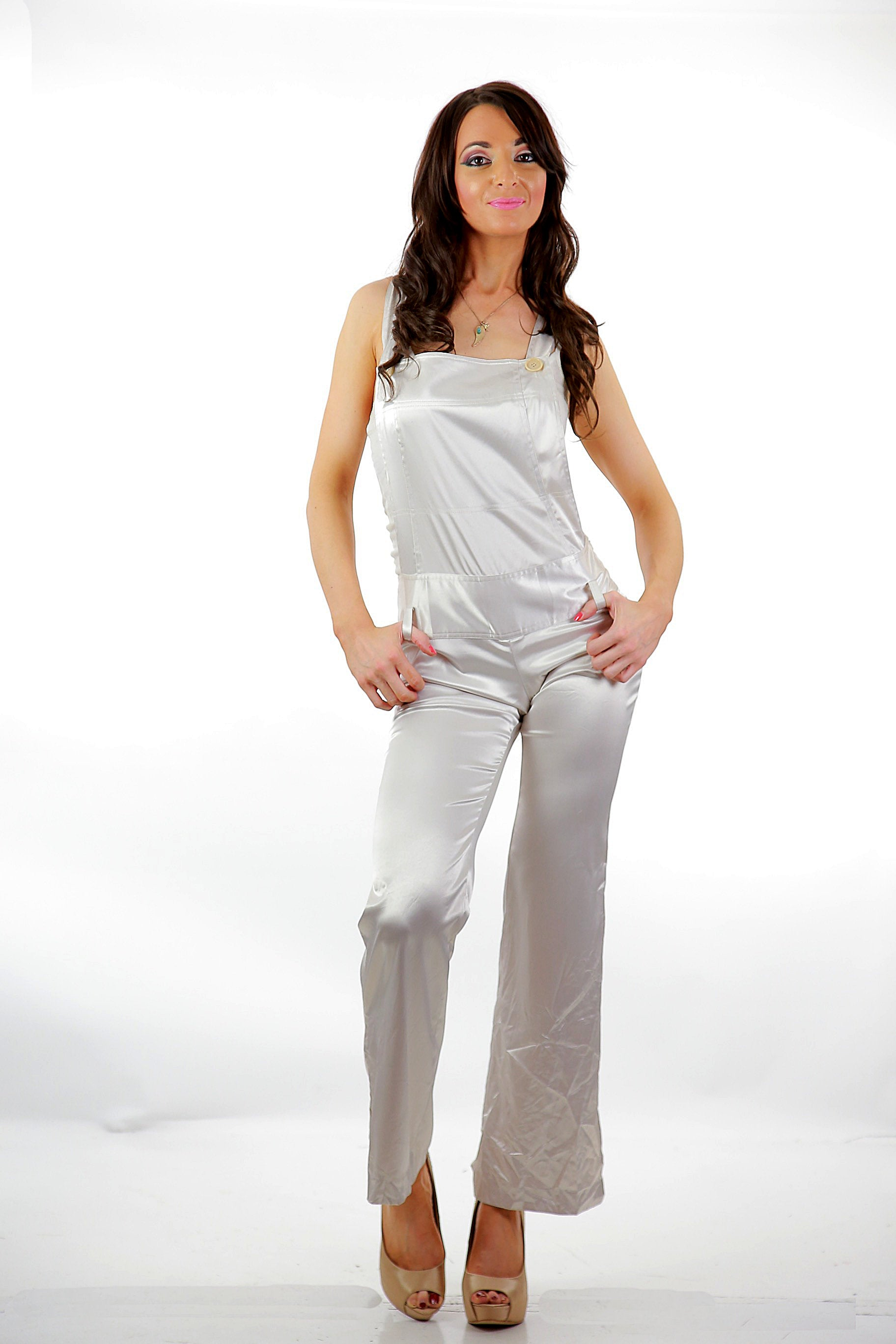fb090e904a3 90s white satin jumpsuit grunge coveralls rocker disco fitted party  cocktail S