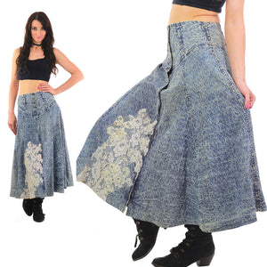 80s Acid wash skirt High waist Button up Circle skirt - shabbybabe  - 5