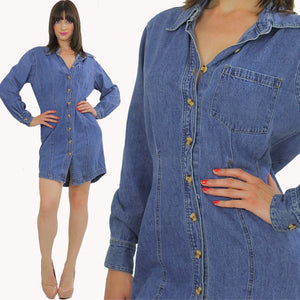 Vintage 90s Grunge Bill Blass Blue denim mini  dress - shabbybabe  - 5