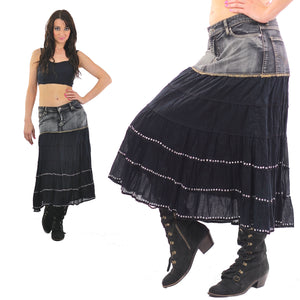 Vintage 90s Denim Skirt Acid wash Grunge maxi skirt - shabbybabe  - 5