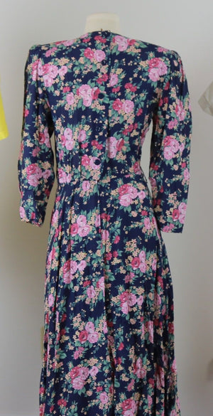 Vintage 80s floral dress 1980s oversized navy pink floral party dress