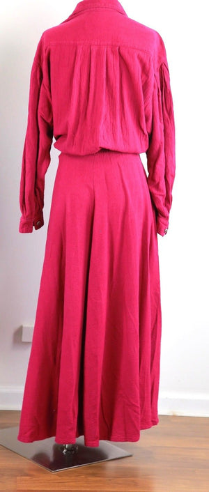 Vintage 80s hot pink dress 1980s oversized long sleeve fuchsia pink dress L