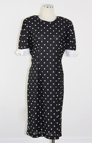 Vintage 80s black and white polka dot dress retro polkadot color block M