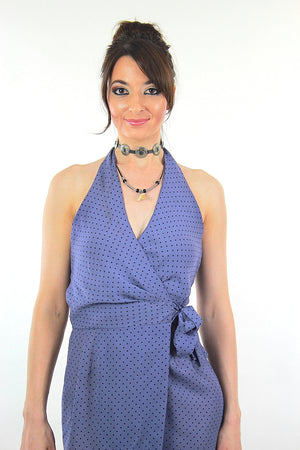 9aed2f9d013 Polkadot dress wrap mini halter blue sundress - shabbybabe