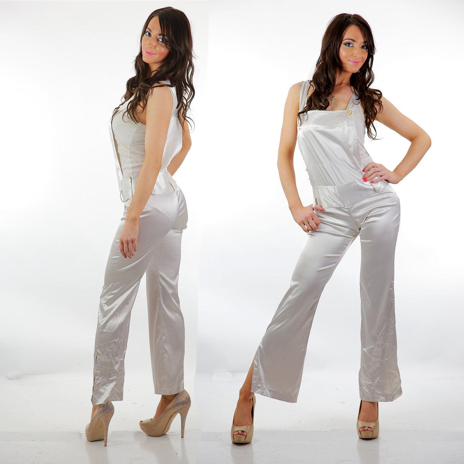 305ce44e8f3 90s white satin jumpsuit coveralls party cocktail - shabbybabe