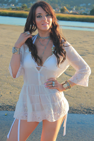 Vintage 90s Boho sheer tiered top pastel pink beach cover button up lace bohemian blouse