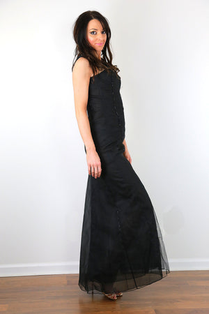 Carolina Herrara dress black beaded silk cocktail party long maxi dress sleeveless fitted XS