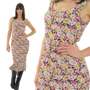 Vintage 90s Grunge pastel floral sleeveless dress - shabbybabe  - 5