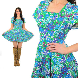 Vintage 80s blue floral  abstract grunge skater cotton  mini dress Medium - shabbybabe  - 6
