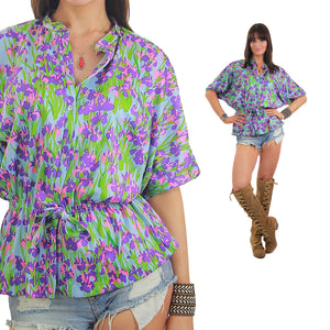 Vintage 70s Boho Hippie Floral tunic top blouse - shabbybabe  - 5