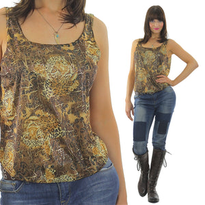 Vintage 90s Grunge gold metallic animal print tank top - shabbybabe  - 5