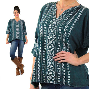Vintage 70s mexican embroidered shirt tunic top - shabbybabe  - 5