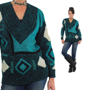 Vintage 80s Deep V Ribbed Abstract Sweater Green Black - shabbybabe  - 5