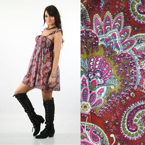 Boho Red Paisley India cotton festival beach sun dress - shabbybabe  - 3