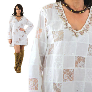 White lace patchwork angel sleeve beach cover tunic top dress - shabbybabe  - 8