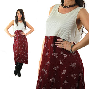 Floral Midi Dress Burgundy white color block sleeveless scoop neck high waisted sundress Vintage 1990s Grunge Medium - shabbybabe  - 1