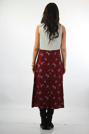 Floral Midi Dress Burgundy white color block sleeveless scoop neck high waisted sundress Vintage 1990s Grunge Medium - shabbybabe  - 3