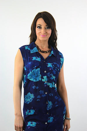Grunge Blue tropical floral Dress sleeveless Button down Plus size - shabbybabe  - 4
