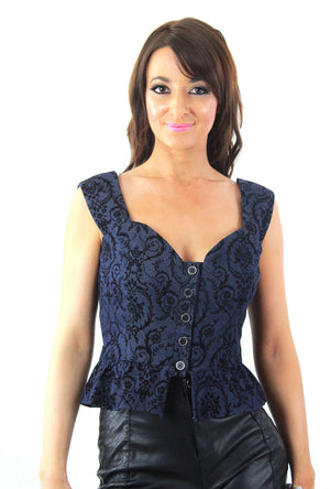 Grunge goth boho denim corset top bustier sweetheart neck peplum button up - shabbybabe  - 4