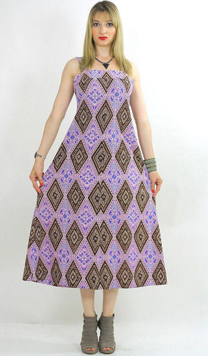 Genuine vintage 70s 1970s boho hippie purple psychedelic maxi dress