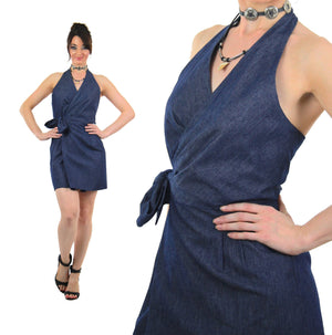 Boho Denim blue jean halter mini dress - shabbybabe  - 2