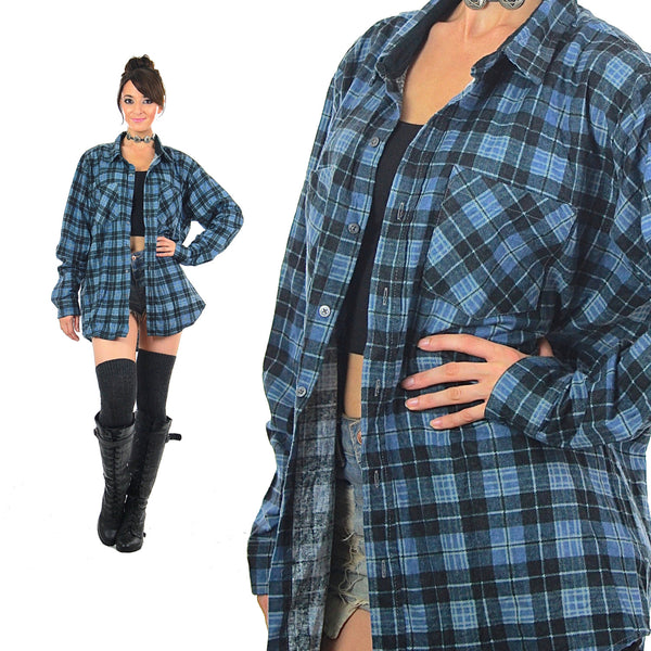 90s grunge Blue plaid flannel long sleeve button down oversize unisex Large
