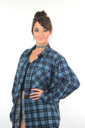 Vintage 90s grunge Blue plaid flannel shirt  button up oversize unisex Large