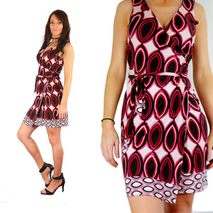 Island border print wrap dress