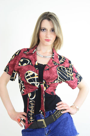 70s boho tie front abstract tribal print crop top shirt - shabbybabe  - 1