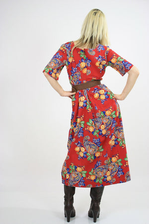 70s Boho Hippie red paisley floral maxi dress - shabbybabe  - 3