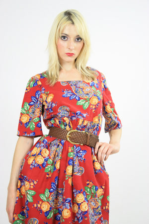 70s Boho Hippie red paisley floral maxi dress - shabbybabe  - 4