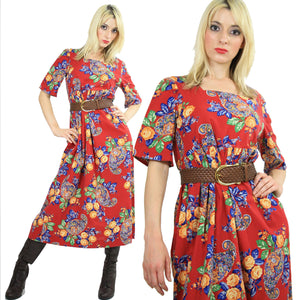 70s Boho Hippie red paisley floral maxi dress - shabbybabe  - 2