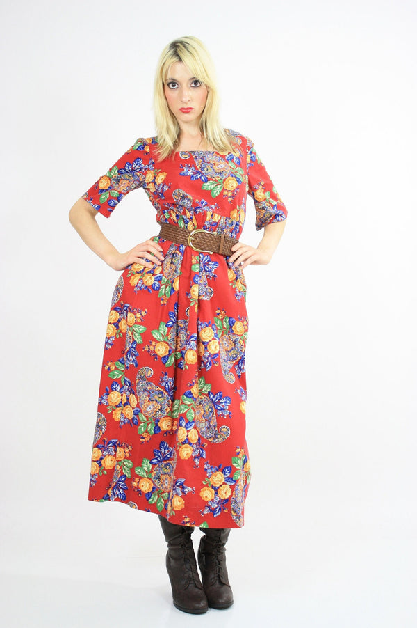 70s Boho Hippie red paisley floral maxi dress - shabbybabe  - 1