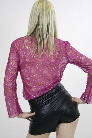 Sheer lace top boho sheer blouse metallic gold floral pink button down shirt cocktail party Large - shabbybabe  - 3