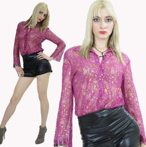 Sheer lace top boho sheer blouse metallic gold floral pink button down shirt cocktail party Large - shabbybabe  - 2