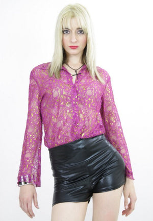 Sheer lace top boho sheer blouse metallic gold floral pink button down shirt cocktail party Large - shabbybabe  - 1